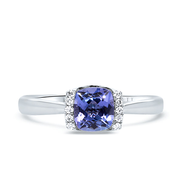 9ct Cushion-Cut Natural Tanzanite & Diamond Ring