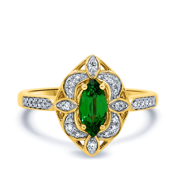 9ct Tsavorite Garnet & Diamond Ring