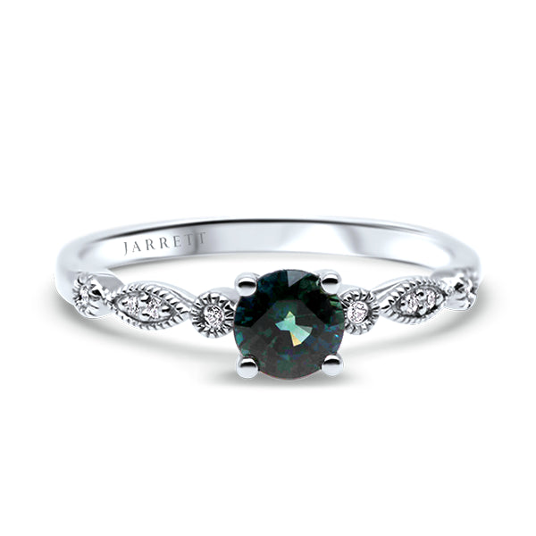 9ct Bluish-Green Australian Sapphire & Diamond Ring
