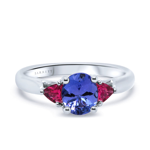 9ct Tanzanite & Pink Tourmaline Trilogy Ring