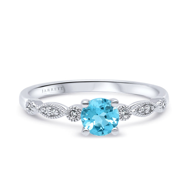 9ct Natural Blue Topaz & Diamond Ring