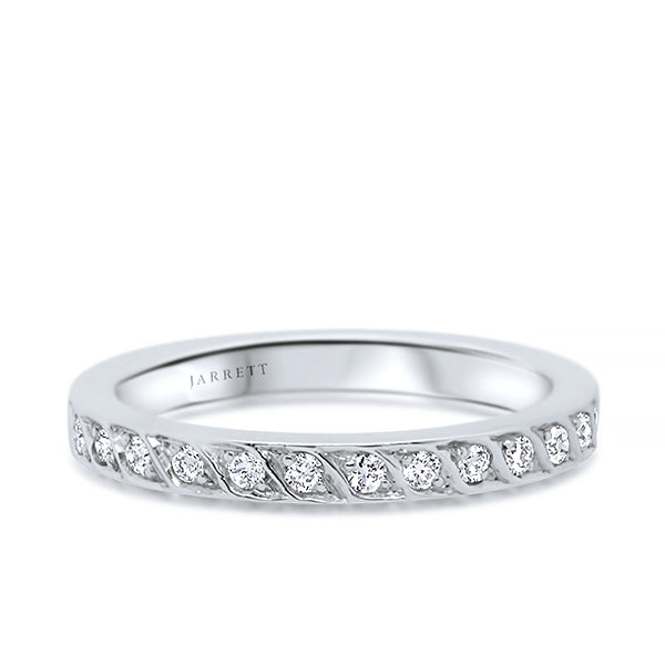 18ct 13-Diamond Leaf-Pattern Band