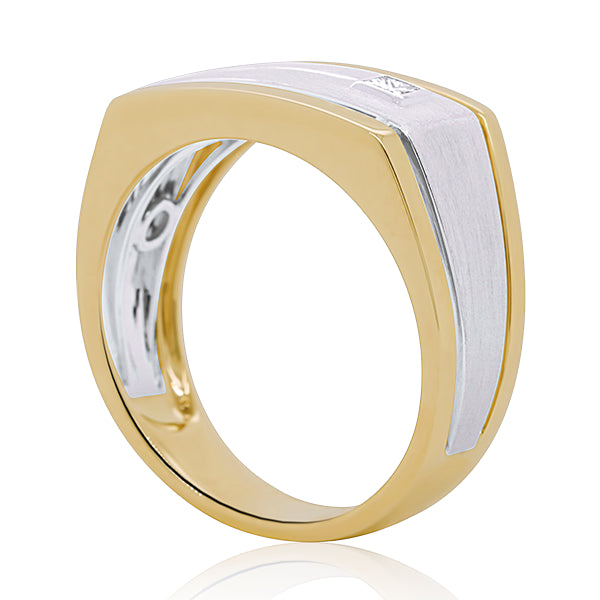 9ct Diamond-Set Rectangular Signet Ring