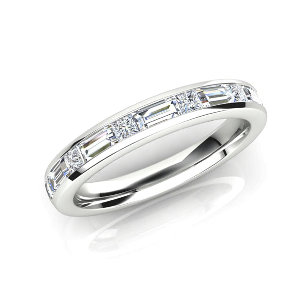 18ct Baguette & Princess-cut Diamond Band