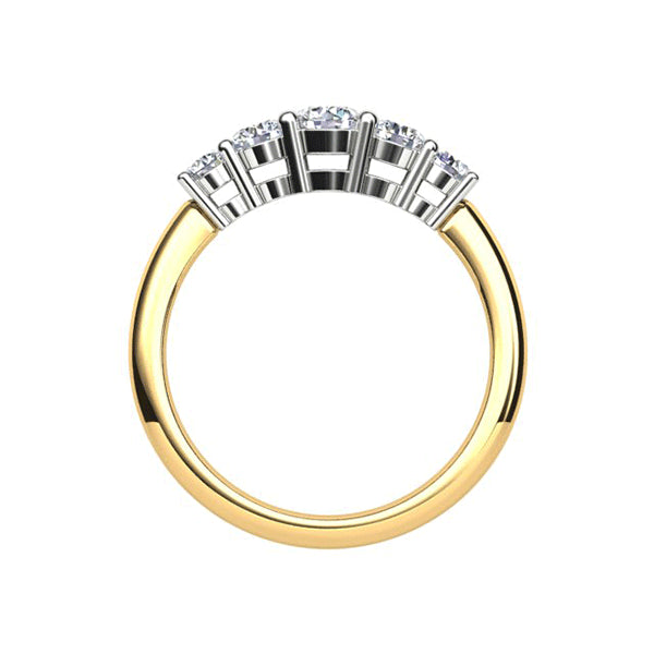 18ct Graduated Five Diamond 0.75ct Claw-Set Band