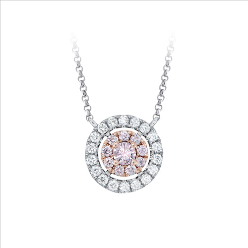 Kimberley Luannah Round Argyle Pink & White Diamond Necklace