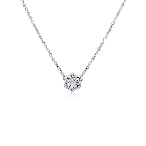 9ct 0.25ct Classic Diamond Cluster Necklace