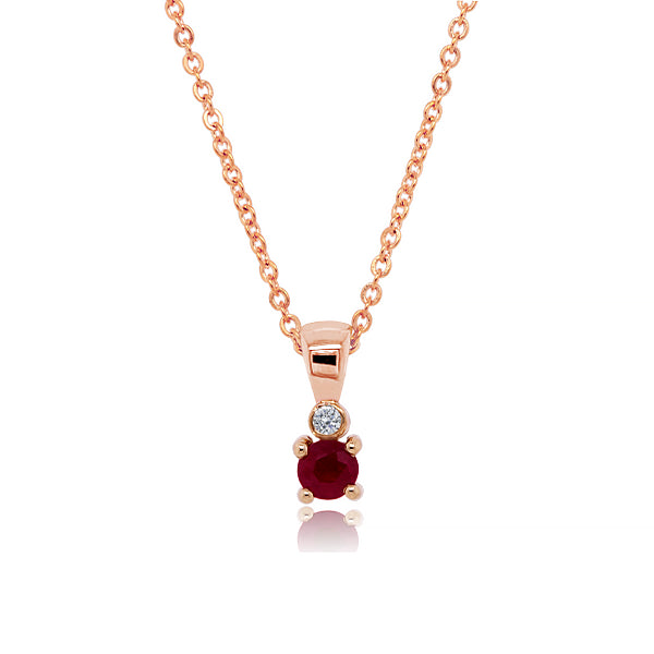 9ct Natural Ruby & Diamond Pendant