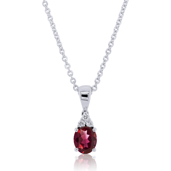 9ct Oval Natural Garnet & Diamond Pendant