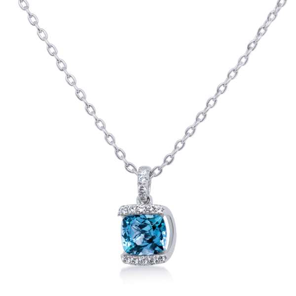 9ct Blue Topaz & Diamond Pendant