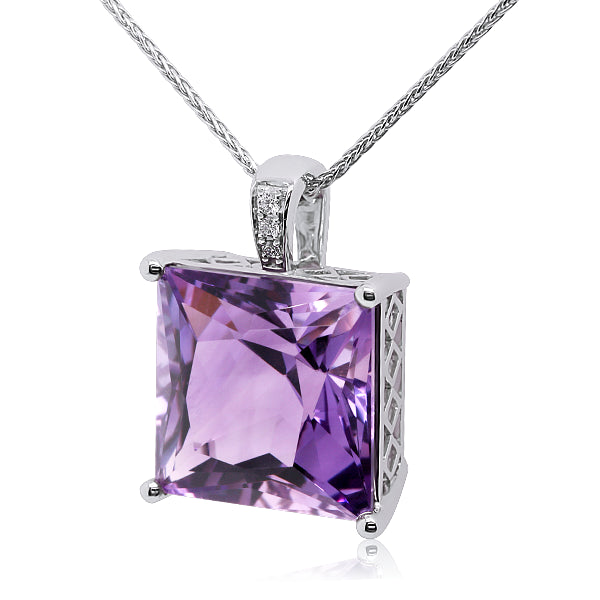 9ct Natural Amethyst & Diamond Pendant