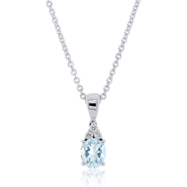 9ct Oval Aquamarine & Diamond Pendant