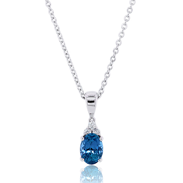 9ct Oval London-Blue Topaz & Diamond Pendant