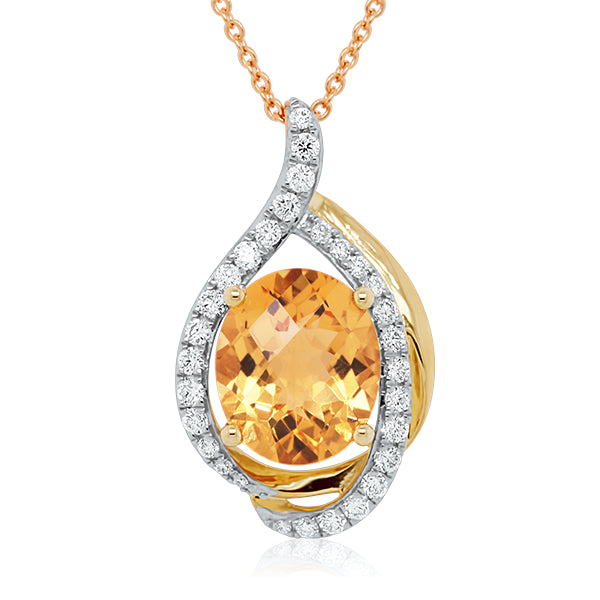 9ct Oval Citrine & Diamond Flame Pendant