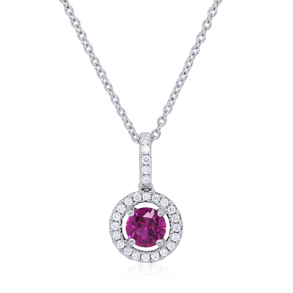 9ct Purple Garnet & Diamond Pendant