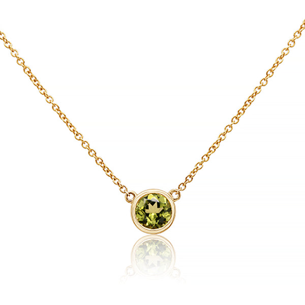 9ct Natural Peridot Classic Bezel Necklace