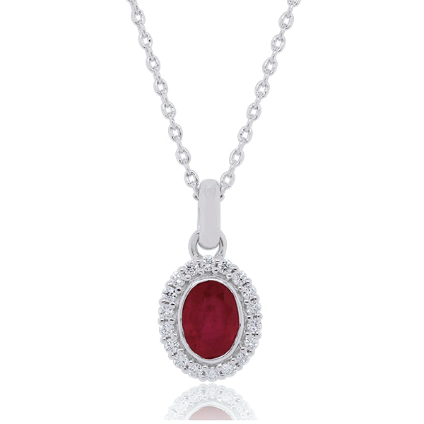 18ct Oval Natural Ruby & Diamond Pendant