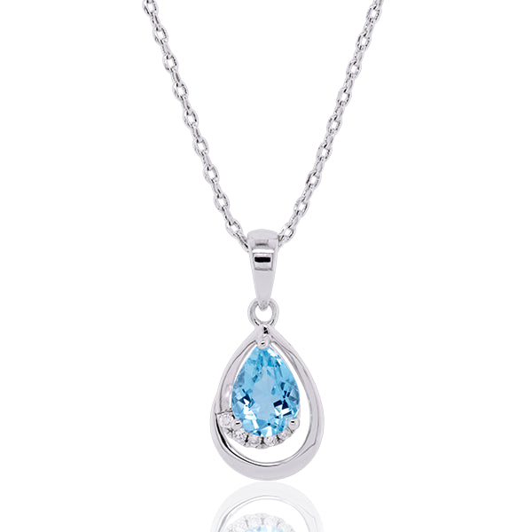 9ct Natural Aquamarine & Diamond Pendant