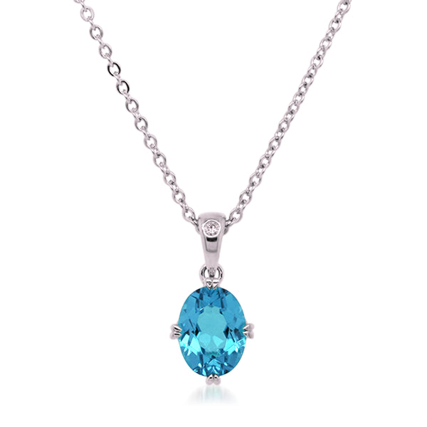 9ct/W Oval Blue Topaz & Diamond Pendant