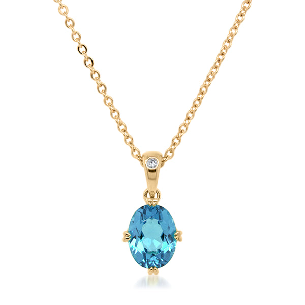 9ct/Y Oval Blue Topaz & Diamond Pendant