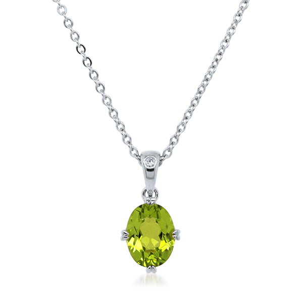 9ct/W Oval Peridot & Diamond Pendant
