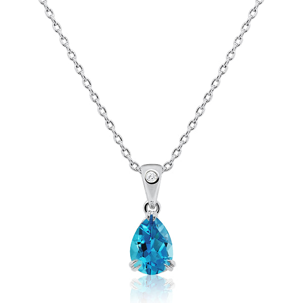 9ct/W Pear-Shape Blue Topaz & Diamond Pendant