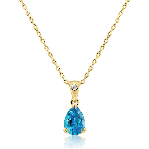 9ct/Y Pear-Shape Blue Topaz & Diamond Pendant