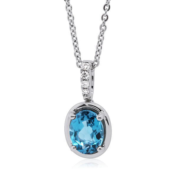 9ct Swiss-Blue Topaz & Diamond Pendant