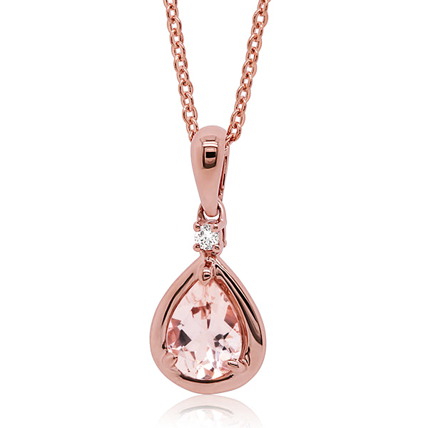 9ct Natural Morganite & Diamond Pendant