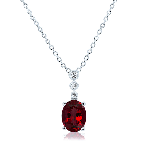 9ct Natural Garnet & Diamond Pendant