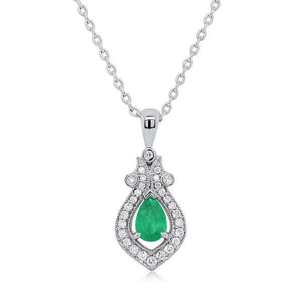 9ct Natural Emerald & Diamond Pendant