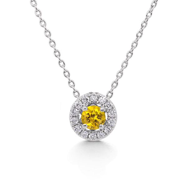 18ct Natural Yellow Sapphire & Diamond Pendant
