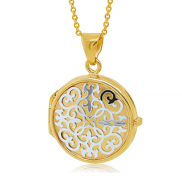 9ct Yellow & White Gold Round Locket