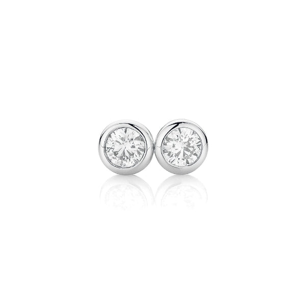 18ct Bezel-Set 0.20ct Diamond Solitaire Studs