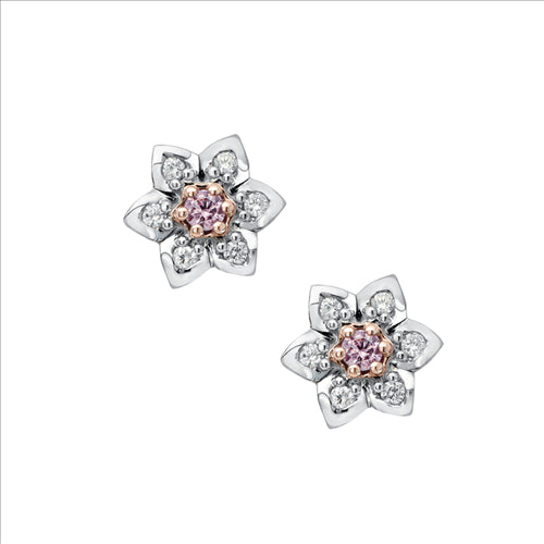 Pink Kimberley Pink Diamond Flower Stud Earrings