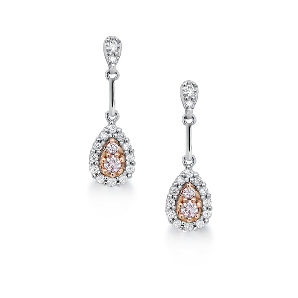 Blush Dusk Argyle Pink & White Diamond Earrings