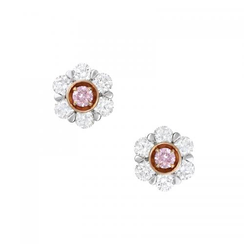 Kimberley Petite Peony Argyle Pink & White Diamond Earrings