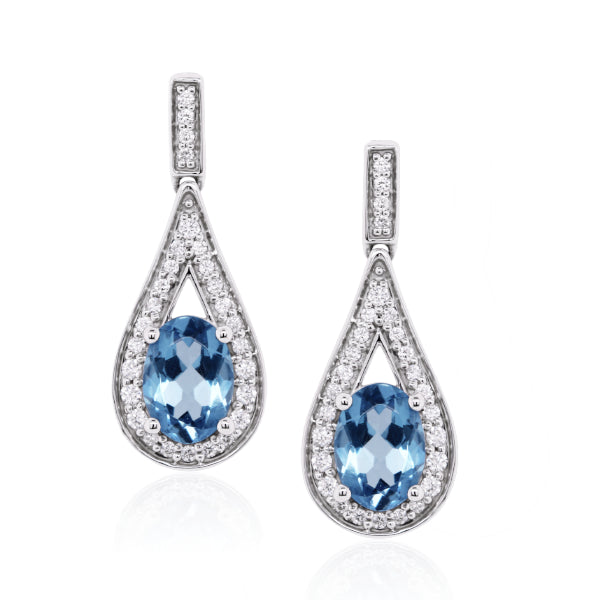 9ct Natural Aquamarine & Diamond Drop Earrings