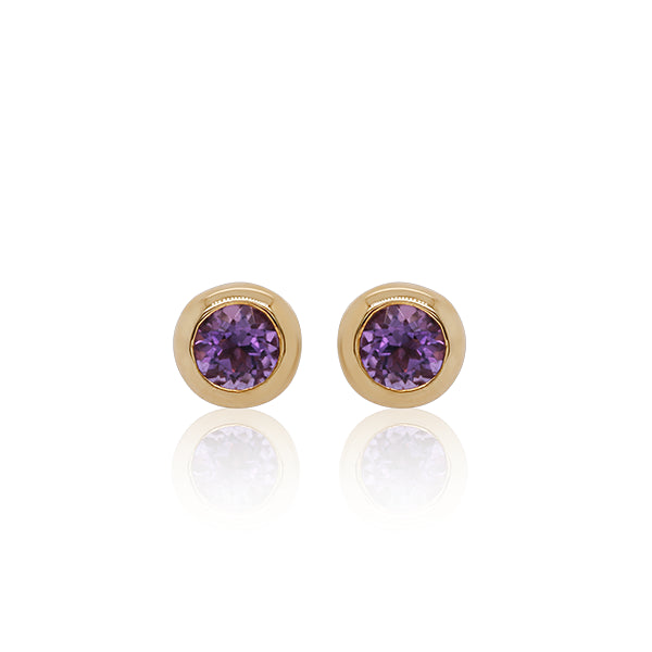 9ct Classic Amethyst Bezel Earrings
