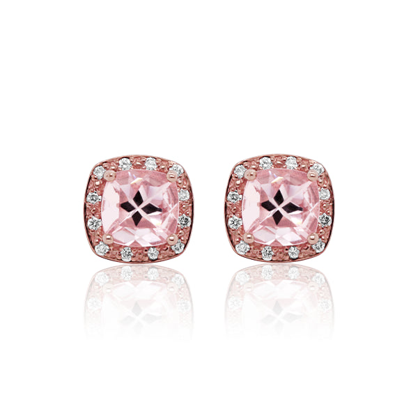 9ct Natural Morganite & Diamond Earrings