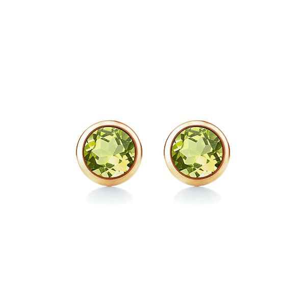 9ct Natural 4mm Peridot Stud Earrings