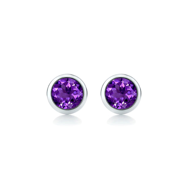 9ct 4mm Natural Amethyst Stud Earrings