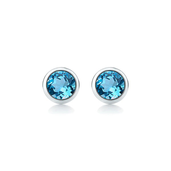 9ct 4mm Blue Topaz Stud Earrings