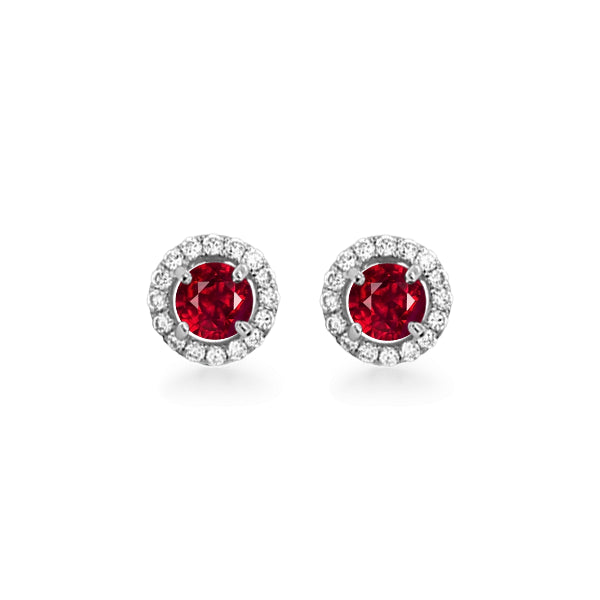 18ct Red Spinel & Diamond Stud Earrings