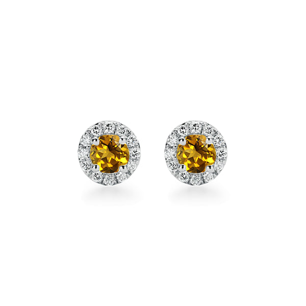 9ct Citrine and Diamond Stud Earrings