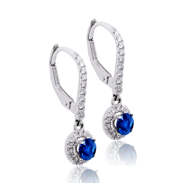 18ct Australian Blue Natural Sapphire & Diamond Drop Earrings