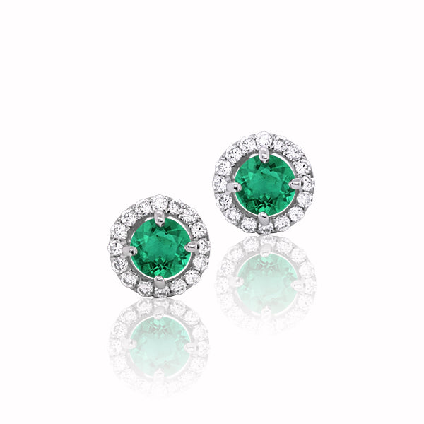 18ct Natural Emerald & Diamond Earrings