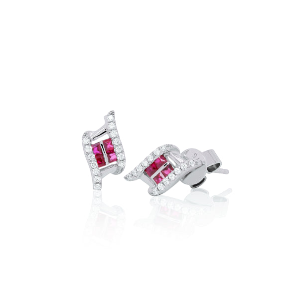 9ct Natural Ruby & Diamond Flame Stud Earrings