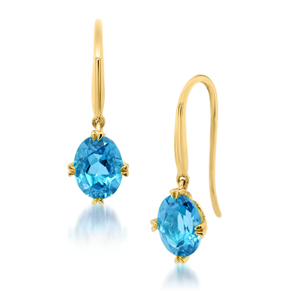 9ct/Y Oval Natural Blue Topaz Drop Earrings