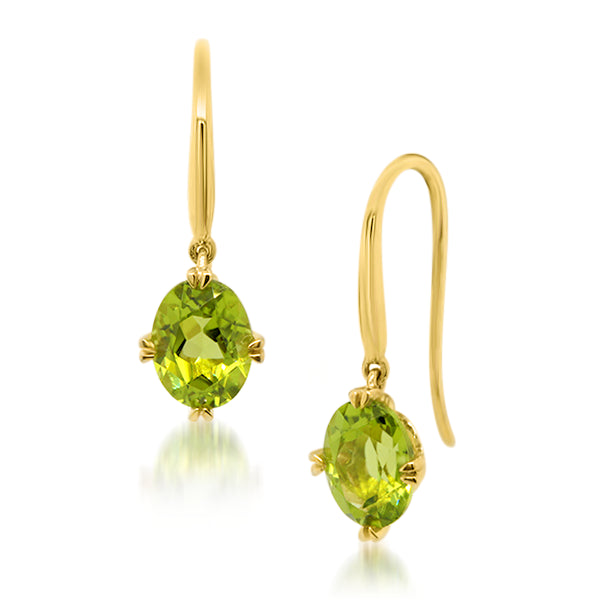 9ct/Y Oval Natural Peridot Drop Earrings